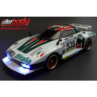 Karosserie - 1/10 Touring / Drift - 195mm - Scale - Fertig lackiert - Box - Lancia Stratos (1977 Giro dItalia) - Racing