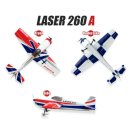 AeroPlusRC Laser 260 weiß/rot/blau 1,88 Meter Spw.